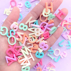 Alphabet Cabochon Assortment in Pastel Color | Resin Letter and Number Embellishment | Kawaii Decoden Supplies (100 pcs / Mix)