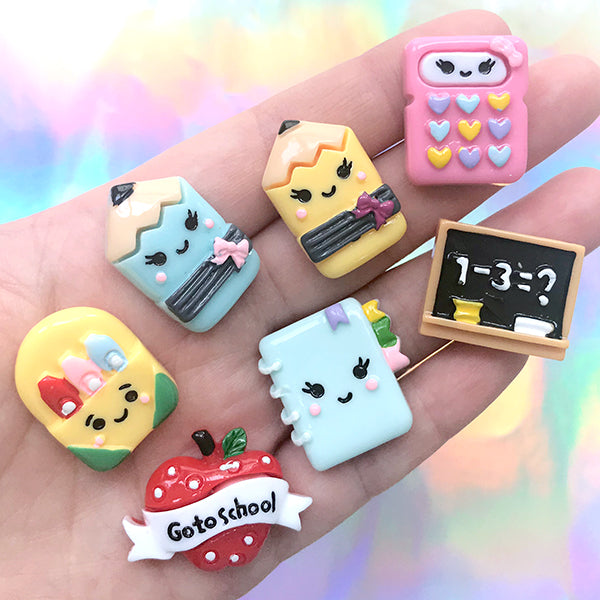 Back to School Cabochon | Blackboard Pencil Calculator Planner Stationery Cabochons | Kawaii Decoden (7 pcs / Mix)