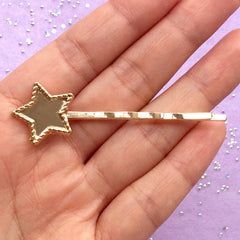 Kawaii Hair Pin with Star Bezel | UV Resin Jewelry Supplies | Cute Hair Clip | Hair Findings (1 piece / Gold)