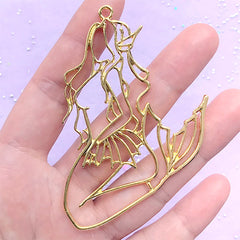 Large Mermaid Open Bezel | Mergirl Charm | Merpeople Deco Frame for UV Resin Filling | Resin Jewelry DIY (1 piece / Yellow Gold / 48mm x 76mm)