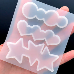 Star Heart and Circle Hair Clip Silicone Mold (3 Cavity) | Kawaii Resin Jewellery Making | Hair Accessories DIY