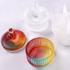 Crystal Trinket Box Silicone Mold | Round Fluted Jewelry Box DIY | Kawaii Resin Art Supplies (79mm)