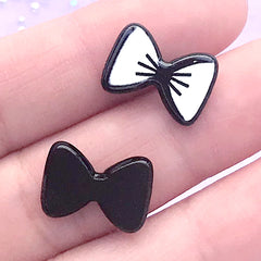 Small Bow Acrylic Cabochon | Decoden Embellishments | Hair Bow Center | Kawaii Jewellery Supplies (3 pcs / White / 15mm x 11mm)