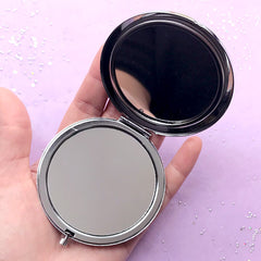Round Compact Mirror Case | Folding Hand Held Mirror | Resin Craft Supplies (Silver / 7cm)