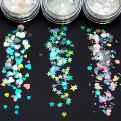 Iridescent Clear Star Heart and Hexagon Glitter Mix | Holographic Rainbow Confetti | Aurora Borealis Flakes (Set of 3)