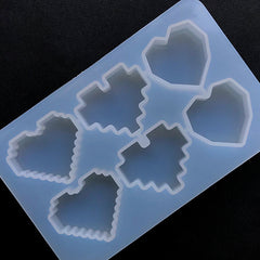 Pixel Heart Geometric Heart Silicone Mold (6 Cavity) | Kawaii Decoden Cabochon Mould | Epoxy Resin Mold | UV Resin Art