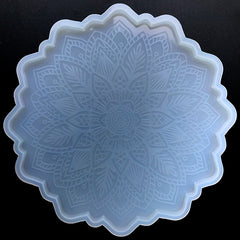 Large Mandala Flower Embossed Coaster Silicone Mold | Sacred Geometry Home Decor | Resin Craft Supplies (200mm)