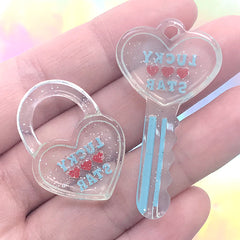 Kawaii Key and Key Lock Resin Charm | Decoden Phone Case DIY | Kitsch Jewelry Making (2 pcs / Blue)