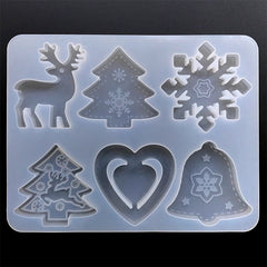 Assorted Christmas Cabochon Silicone Mold (6 Cavity) | Christmas Ornament Making | Christmas Tree Reindeer Snowflake Jingle Bell Mould