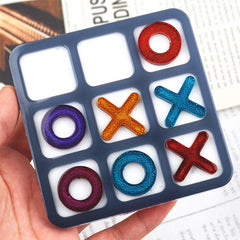 Tic Tac Toe Silicone Mold for Resin Art | Noughts and Crosses Game DIY | Xs and Os Mould | Resin Mould Supplies (92mm)