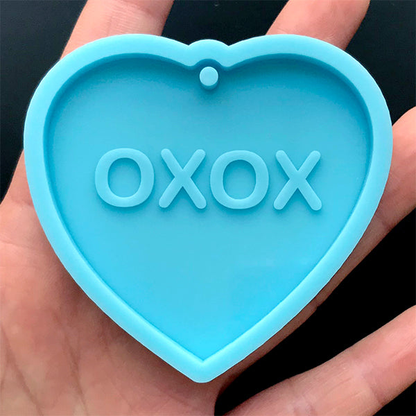 Conversation Heart Tag Silicone Mold | XOXO Heart Charm Mould | Valentine's Day Keychain DIY | Resin Craft Supplies (59mm x 55mm)