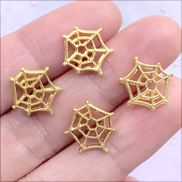 Mini Spider Web Resin Inclusions | Halloween Shaker Bits | Metal Embellishments for Resin Art (4 pcs / Gold / 11mm x 12mm)