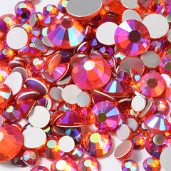 AB Glass Rhinestones Assortment | Faceted Round Crystal in Various Sizes | Bling Bling Embellishments (AB Orange Red / SS4 to SS20 / Around 300 pcs)