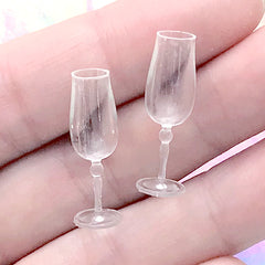 Miniature Champagne Glass | Doll House Wine Glasses | Dollhouse Drinkware | Tiny Plastic Glasses | Doll Drink Making (2 pcs / Clear / 8mm x 24mm)
