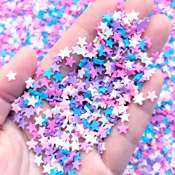 Faux Star Sprinkles for Fake Food Art | Polymer Clay Toppings for Cake Decoration | Sweet Deco Supplies (Purple Pink Blue Mix / 5 grams)