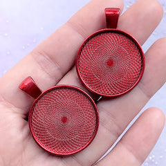 25mm Round Bezel Tray Pendant | Cameo Setting | Cabochon Base | Kawaii Jewellery Supplies (2 pcs / Red)