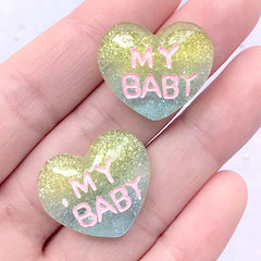 DEFECT My Baby Heart Cabochons | Kawaii Cabochon with Glitter | Decoden Phone Case Making (2 pcs / 23mm x 20mm)