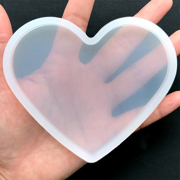 Large Heart Silicone Mold | Heart Coaster Mold | Clear Soft Mould for UV  Resin | Epoxy Resin Supplies | Valentine's Day Decor (102mm x 86mm)