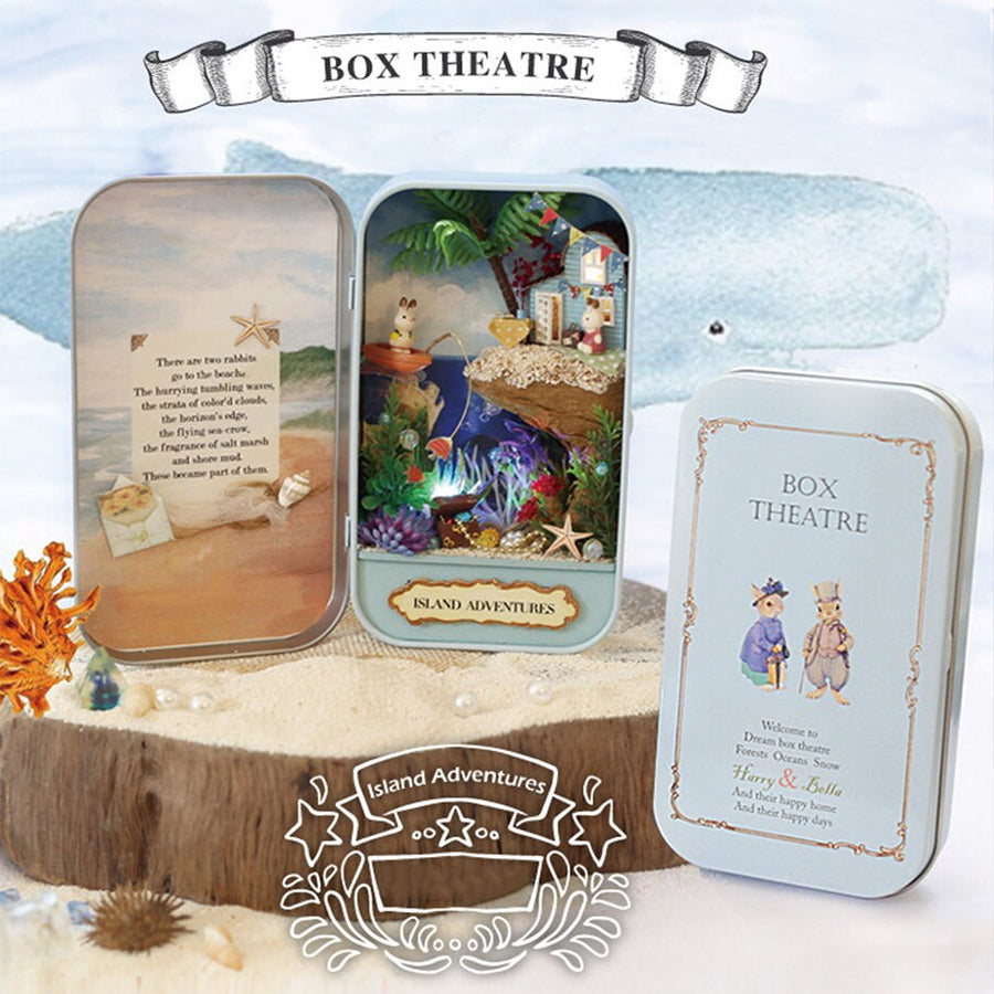 Dollhouse Miniature Box Theatre Craft Kit in 1:24 Scale | Island Adventures | Doll House Toy | Birthday Gift