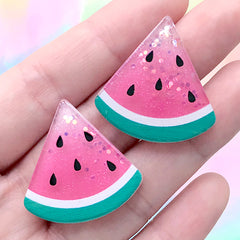 Glittery Watermelon Cabochons | Fruit Embellishments | Kawaii Hair Bow Center (2 pcs / 29mm x 29mm)