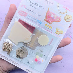 Teacup Icing Cookie Pendant Making | Faux Sugar Cookie Charm DIY | Fake Sweet Jewellery | UV Resin Craft Kit