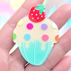 Kawaii Cupcake Acrylic Flatback Cabochon | Glittery Decoden Piece | Toddler Jewellery Making (1 piece / 41mm x 55mm)
