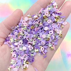 Faux Cake Sprinkles Confetti in Purple Color | Fake Cupcake Toppings | Kawaii Sweets Deco | Resin Shaker Bits (Mix / 10 grams)