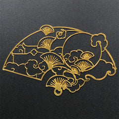 Ginkgo Leaf Handheld Fan Metal Bookmark Charm | Oriental Deco Frame for UV Resin Filling | Open Bezel Pendant (1 piece / 69mm x 43mm)