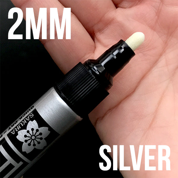 Sakura Pen-Touch Oil Based Paint Marker | Permanent Marker in Metallic Silver Color (2mm / Silver)