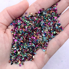 Colorful Crushed Stones | Metallic Glass Stone Glitter Flakes | Bling Bling Resin Fillers | Resin Art Supplies (Mixed Colors / 10 grams)
