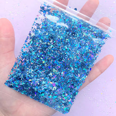 Holo Confetti Flakes in Irregular Shape | Bling Bling Glittery Sprinkles | Iridescent Resin Fillers for Resin Cabochon DIY (AB Blue / 10g)