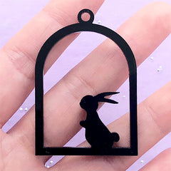 Black Acrylic Open Bezel Charm | Rabbit in Bird Cage Pendant | Bunny Deco Frame for UV Resin Craft (1 piece / Black / 34mm x 49mm / 2 Sided)