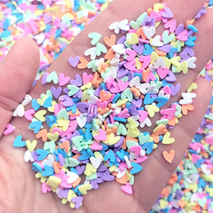 Heart Polymer Clay Confetti | Rainbow Toppings for Fake Food Craft | Fimo Sprinkles | Kawaii Embellishments for Resin Art (5 grams)