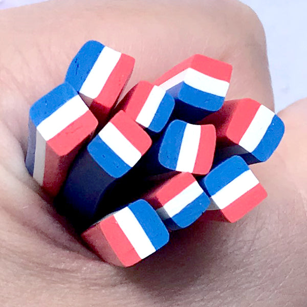 French Flag Polymer Clay Cane | Flag of France Fimo Cane | Resin Inclusions | Nail Decoration