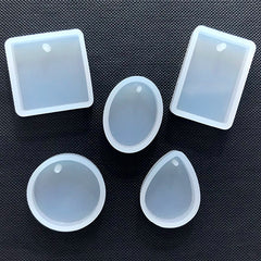 Silicone Pendant Mold (Set of 5) | Resin Charm Mold | Round Oval Teardrop Square Rectangle Molds | Resin Jewelry DIY