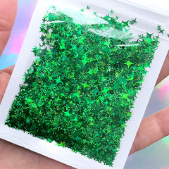 Four Point Star Iridescent Confetti | Holographic Cross Star Glitter | Aurora Borealis Flakes for Kawaii Resin Art (AB Green)
