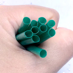 Small Green Straw for Doll Food Craft | Miniature Drink DIY | Doll House Frappa Coffee Making (10 pcs / 45mm / Green)