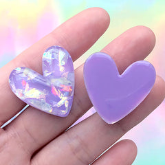 Kawaii Heart Cabochon with Glitter Flakes | Decoden Phone Case DIY | Kawaii Resin Flatbacks (3 pcs / Purple / 27mm x 27mm)