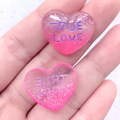 DEFECT True Love Heart Cabochons with Glitter | Glittery Resin Heart Cabochon | Kawaii Decoden Pieces (2 pcs / 23mm x 20mm)