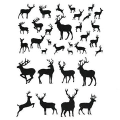 Black Deer Silhouettes Clear Film | Christmas Reindeer Embellishments | Forest Animal Resin Inclusion | Resin Art Supplies