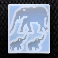 Elephant Family Silicone Mold (3 Cavity) | Animal Pendant DIY | Clear Mould for UV Resin Jewelry Making | Epoxy Resin Crafts