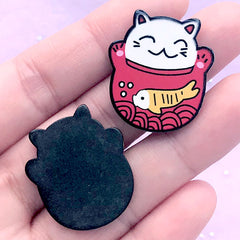 Japanese Culture Acrylic Cabochons | Beckoning Cat Embellishments | Lucky Cat Jewellery DIY (2 pcs / 24mm x 27mm)