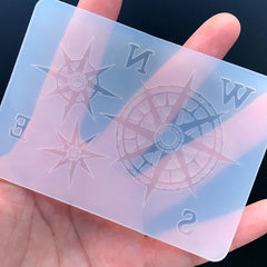 Compass Wind Rose and NSEW Silicone Mold | Nautical Embellishment Making | Marine Jewelry DIY | Clear Soft Mold for UV Resin
