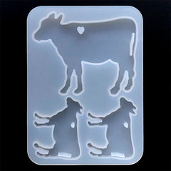 Cow and Calf Silicone Mould (3 Cavity) | Farm Animal Family Mold | Resin Jewellery DIY | Clear Mold for UV Resin