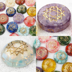 Seven Chakras Symbol Cabochon Silicone Mold for Resin Craft (14 Cavity) | Reiki Healing Stone DIY (38mm)