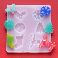 Assorted Christmas Charm and Embellishment Silicone Mold for Resin Craft (6 Cavity) | Peppermint Candy Holly Ivy Snowflake Stocking Tree Joy Mould