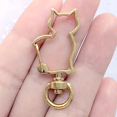 Cat Snap Clasp with Swivel Ring | Kawaii Animal Lobster Clip | Kitty Shaped Lanyard Hook | Keychain DIY (1 piece / Yellow Gold / 20mm x 41mm)