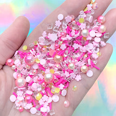Sakura Cake Sprinkles with Sugar Pearls for Faux Cupcake Decoration | Fake Toppings | Sweet Deco | Kawaii Resin Decoration (Mix / 10 grams)