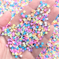 Fake Star Toppings for Fake Food DIY | Rainbow Sprinkles | Kawaii Confetti | Polymer Clay Embellishments for Resin Craft (5 grams)