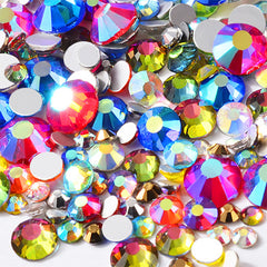 Faceted Glass Rhinestones in AB Rainbow Color | Bling Bling Round Rhinestones in Various Sizes (AB Rainbow / SS4 to SS20 / Around 300 pcs)